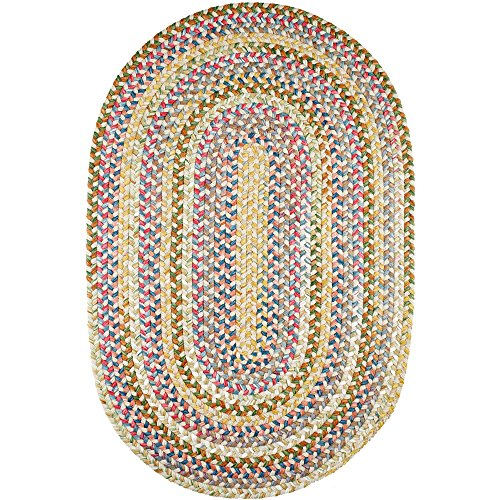 Super Area Rugs Gemstone Textured Braided Rug Indoor/Outdoor Rug Durable Neutral Kitchen Carpet, 3' X 5' Oval