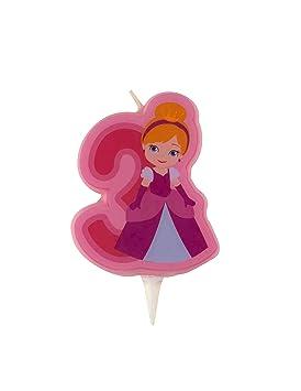 Vela de cumpleaños princesa - Número 3: Amazon.es: Juguetes ...