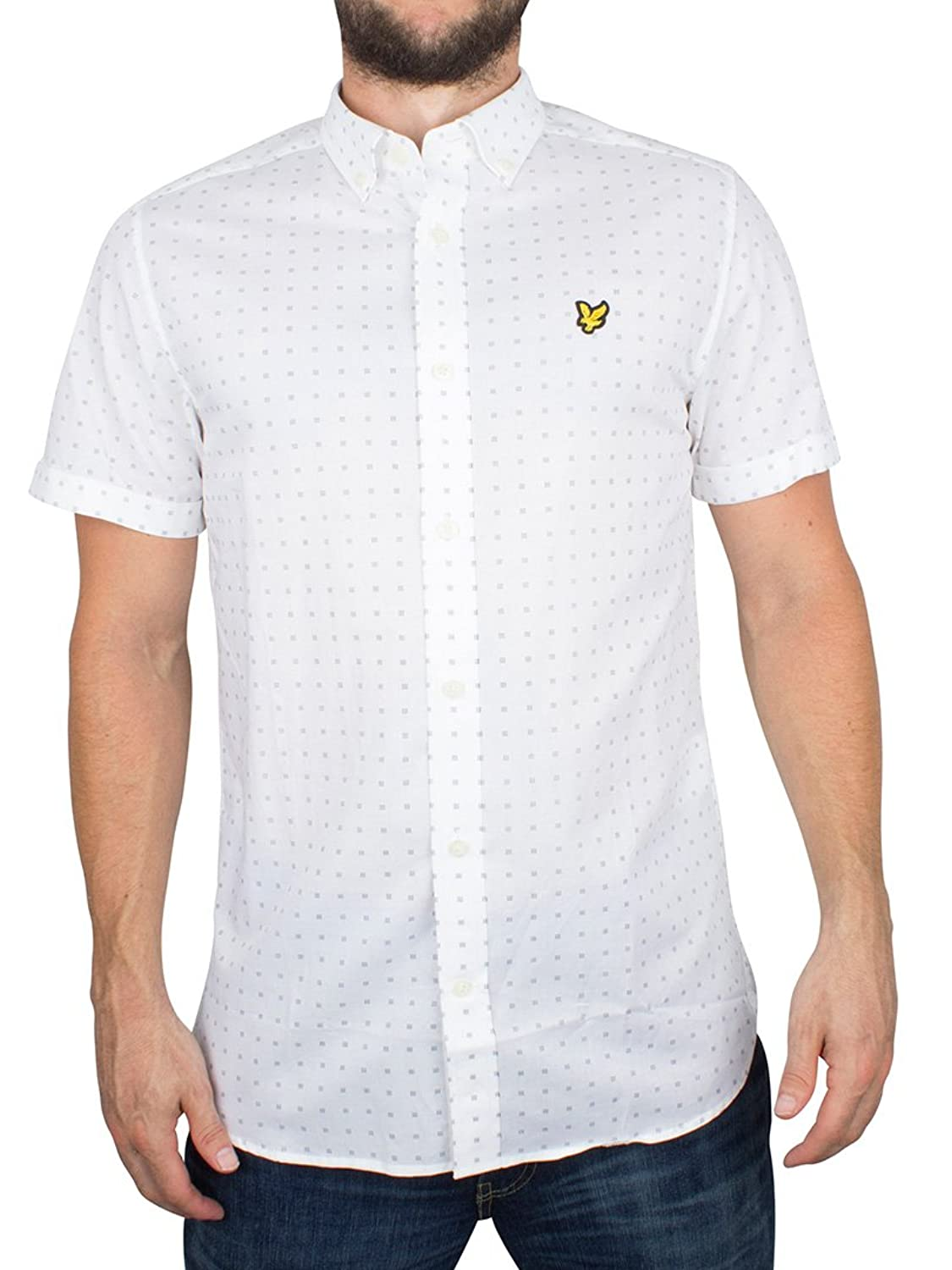 Lyle & Scott Herren All Over-Platz-Punkt-Druck Kurzarmshirt, Weiß