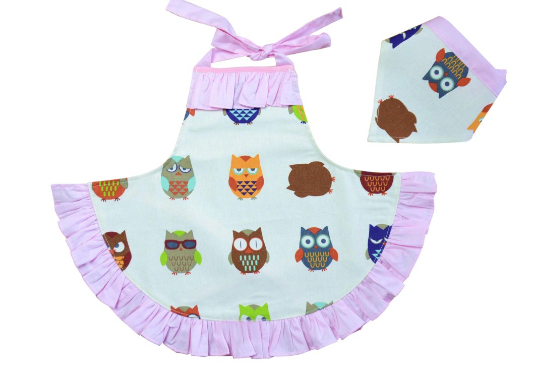 CRB Fashion Girls Children's For Toddler Kids Owl Cooking Baking Headscarf Apron 2 Piece Set (Style #1, 3T to 4T)
