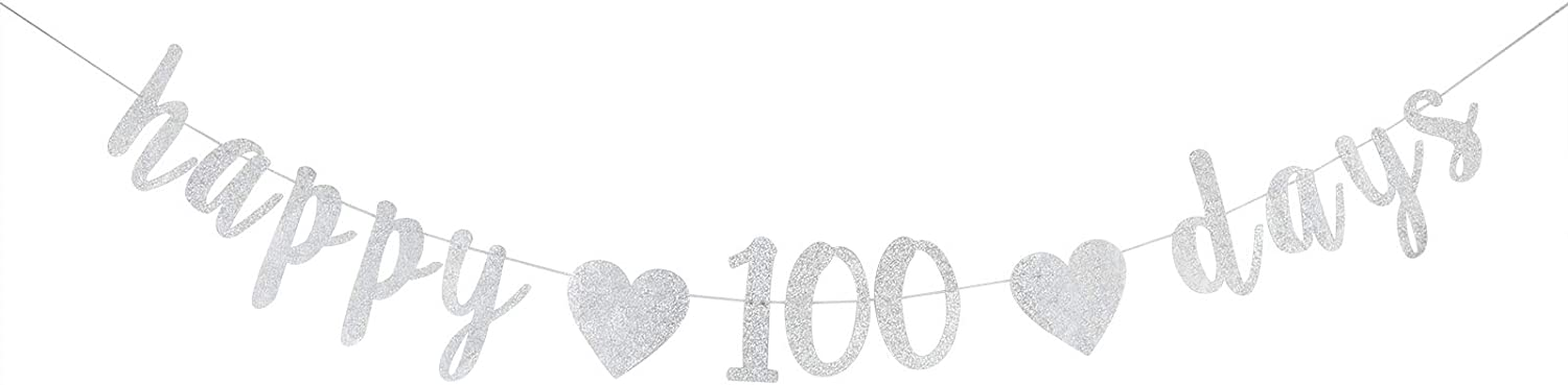 Dill-Dall Happy 100 Days Banner, Kid's 100 Days Celebration,100th Day of School, 100 Days Theme Party Decoration (Silver Glitter)