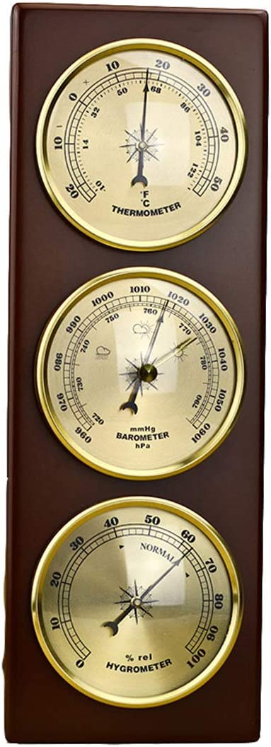 Weather Station with Barometer Thermometer Hygrometer,3 in 1 Wall-Mounted Analog Weather Station with Wooden Frame Base,for Hanging Home,Office,Indoor,Outdoor,Fishing,Sailing,Barometers for the Home