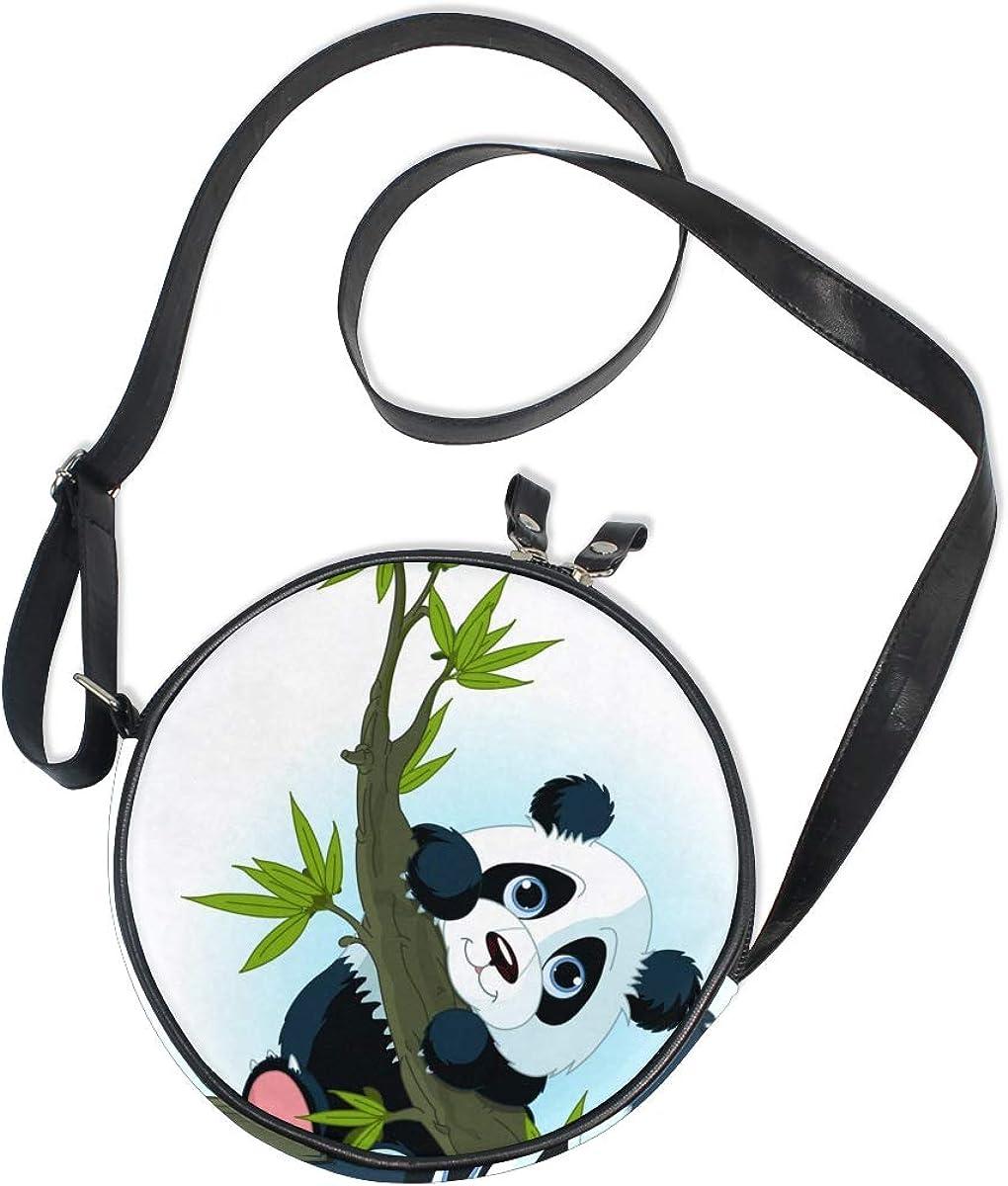 KEAKIA Giant Panda Climbing Tree Round Crossbody Bag Shoulder Sling Bag Handbag Purse Satchel Shoulder Bag for Kids Women