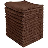 Luxury Cotton Washcloths (12-Pack, Dark Brown, 12x12 Inches) - Easy Care, Fingertip Towels, Facial Towelettes, Cotton Hand Towels - by Utopia Towels