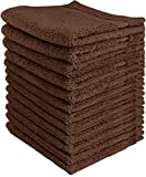 Utopia Towels 600 GSM Washcloths, 12 Pack, Dark Brown
