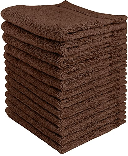 Hemmed Sport Towel (Utopia Towels Luxury Cotton Washcloth Towels Set (12 Pack, Dark Brown, 12x12 Inches) Multi-purpose Extra Soft Fingertip towels, Highly Absorbent Face Cloths, Machine Washable Sport, and Workout Towels)