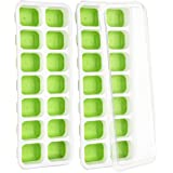 (2 Pack) Ice Cube Tray, TOPELEK LFGB Certified BPA Free Ice Cube Moulds with Food-Safe Material, 2 Spill-Resistant Lids, Best Ice Trays for Freezer, Dishwasher Safe, Green