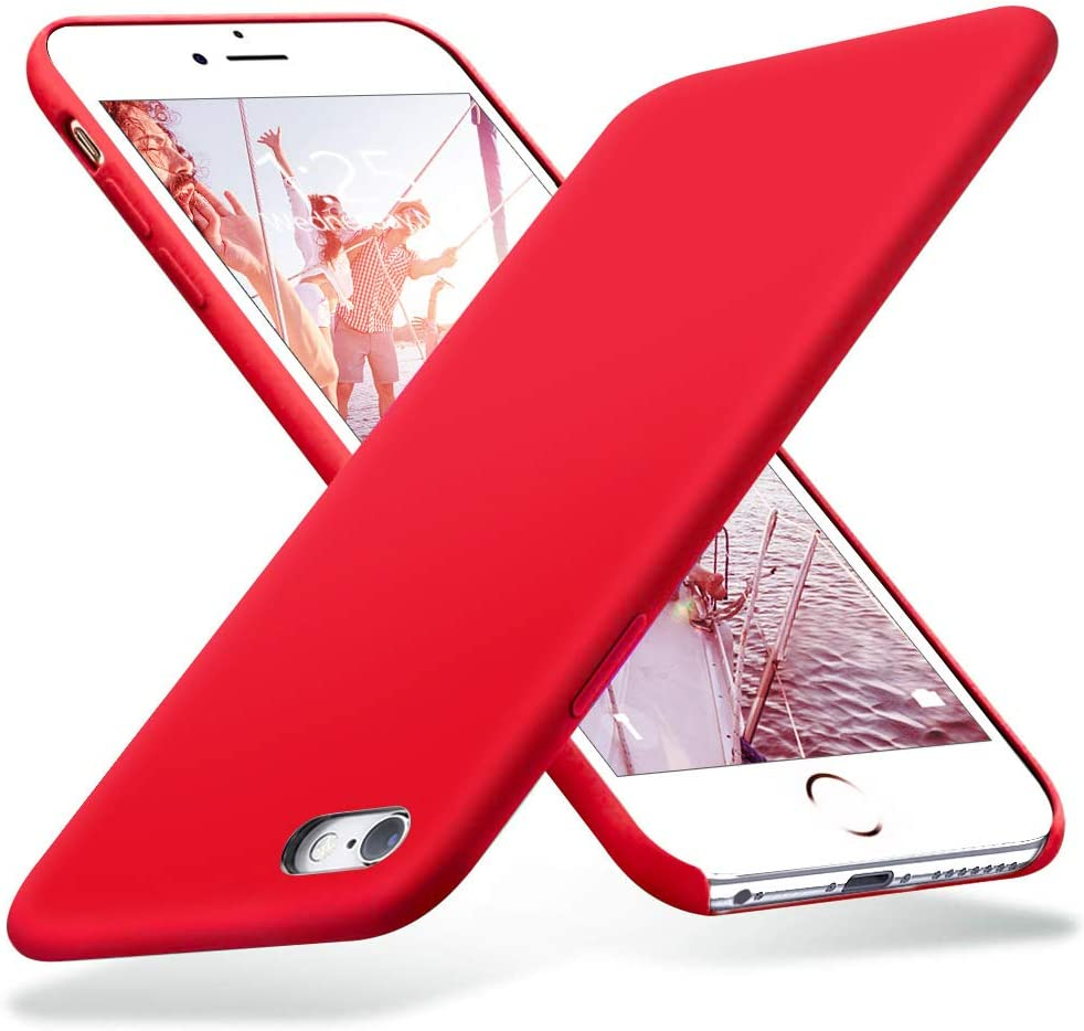 KUMEEK iPhone 6s Case, iPhone 6 Case, Liquid Silicone Rubber with Soft Microfiber Cloth Cushion Protective Case Thin Slim for iPhone 6s / iPhone 6 - Red