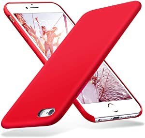 KUMEEK iPhone 6s Plus Case, iPhone 6 Plus Case, Liquid Silicone Rubber with Soft Microfiber Cloth Cushion Protective Case Thin Slim for iPhone 6s Plus/iPhone 6 Plus - Red