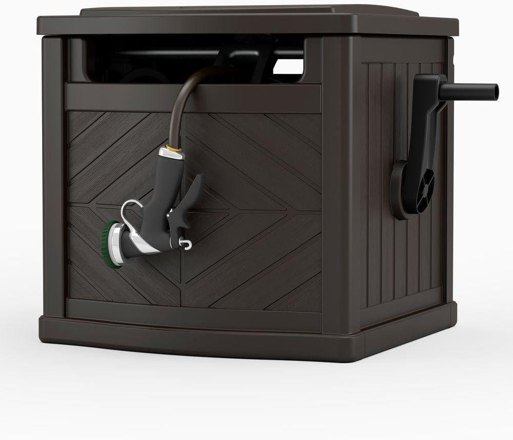 Amazon Com Suncast 150 Ft Hideaway Garden Hose Reel Storage Bin Home Kitchen