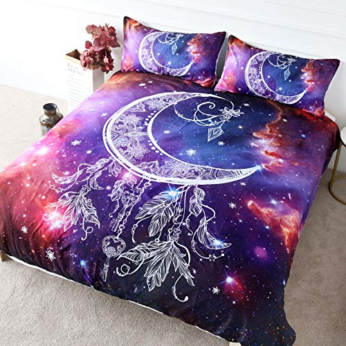 BlessLiving Star Galaxy Bedding Crescent Moon Duvet Cover Purple Pink Bedding 3 Pieces Feather Design Quilt Cover Space Comforter Cover Set (King)