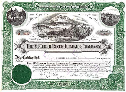 1896 LG RARE ARTISTIC NORTHERN CALIFORNIA LUMBER STOCK! 3 VIGNETTES! ORANGE BACK! FLAWLESS! Share Amounts Vary CHOICE UNCIRCULATED (Unissued)
