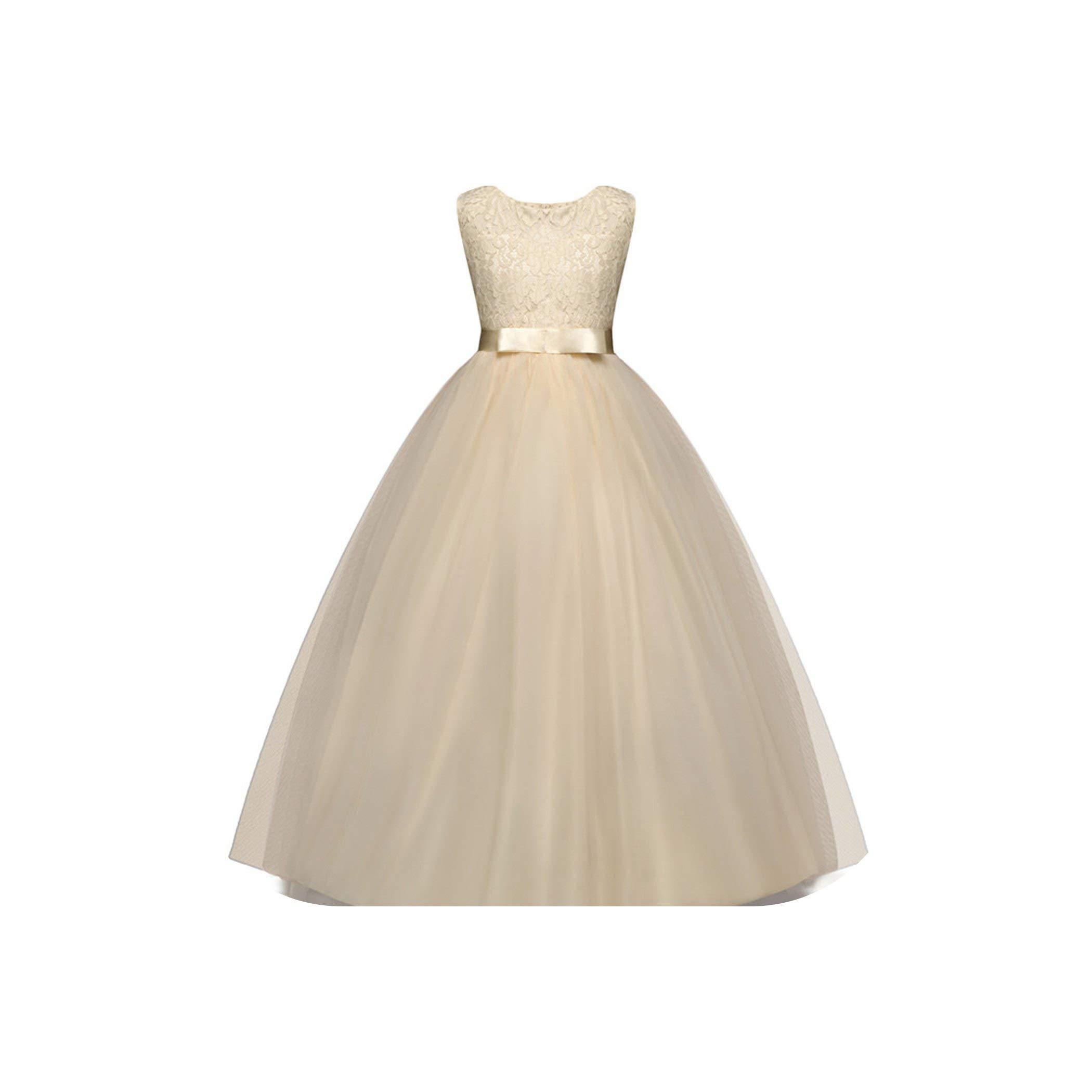 New Kids Girls Wedding Flower Girl Dress Princess Party Pageant Formal Costume Sleeveless Dresses,he is,5