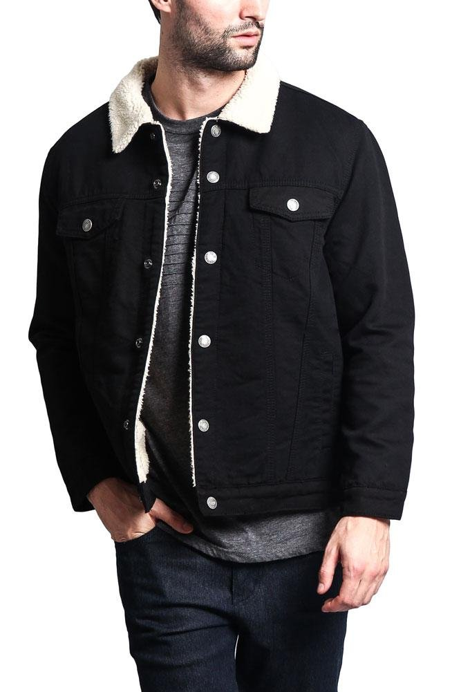 Victorious G-Style USA Classic Sherpa Faux Shearling Heavyweight Denim Work Jacket - DK112 - Black - X-Large - T14A