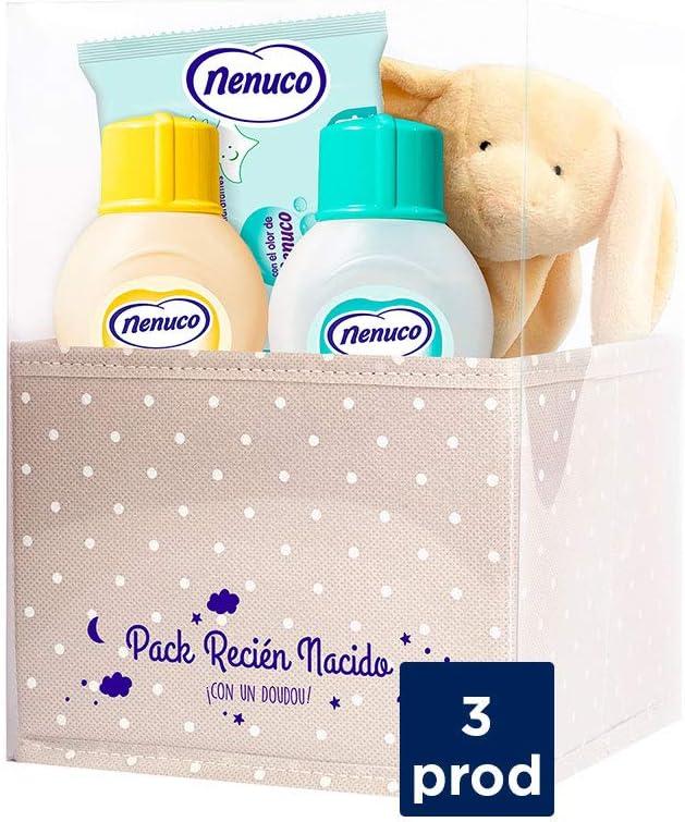 Nenuco Canastilla Regalo Bebé Recién Nacido con colonia, toallitas, jabón de baño infantil y doudou