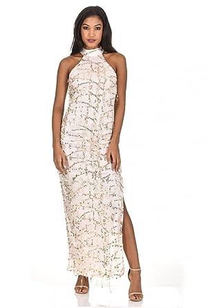 1b6d7aa2b0b AX Paris Women s Cut in Neck Sequin Maxi Dress at Amazon Women s ...