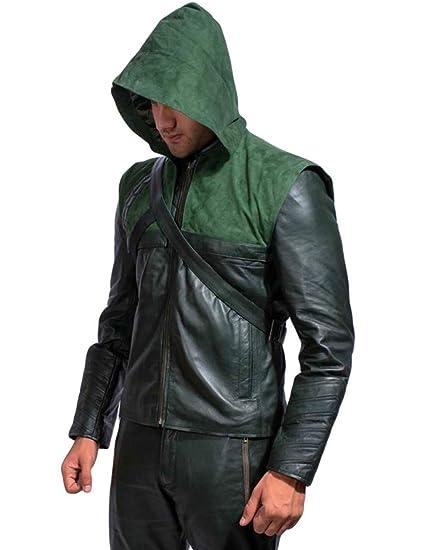 Arrow - Chaqueta de Piel con Capucha extraíble: Amazon.es ...