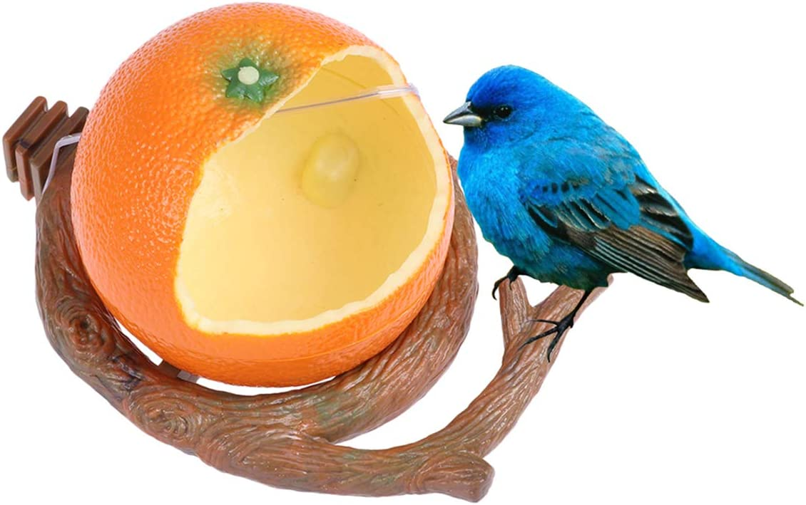 POPETPOP Birds Feeder Bowl-Parakeet Food Dish Orange Shaped Birds Feeder Cup for Small Parrots, Cockatiels,Conure and Hamster Small Animal Drinking Water Container