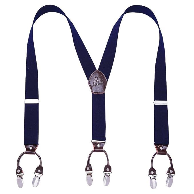 Panegy - Tirantes Para Hombre Elástico Y-Forma Adjustable con 6 Clips Fuerte Para Traje Pantalones Hombre Tirantes de Color Sólido Estilo Retro ...