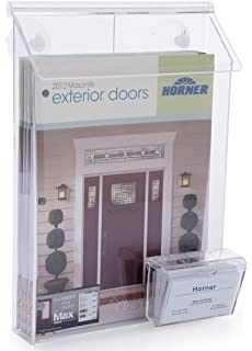 Amazon outdoor brochure holder with business card holder displays2go outdoor magazine holder for booklets or flyers with card pocket wall mount colourmoves