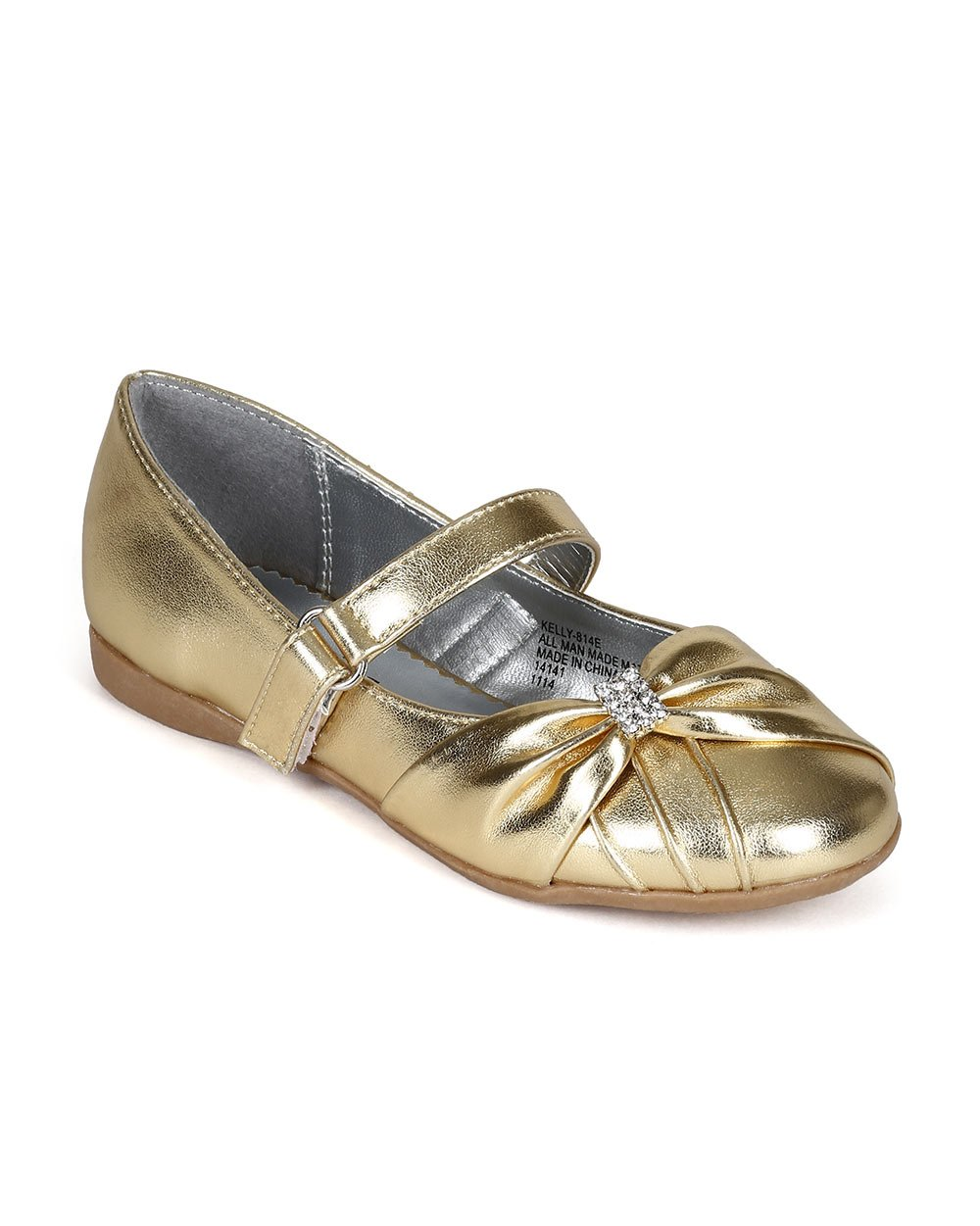 Metallic Leatherette Ruffled Rhinestones Decor Ballerina Flat (Toddler/Little Girl/Big Girl) CC56 - Gold (Size: Big Kid 4)