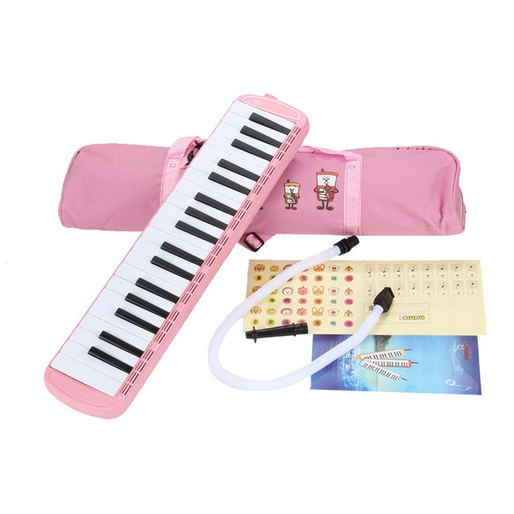 Melodica Musical Instrument Kids Musical Instrument Gift Toy Pianica Melodica 37 Piano Keys For Music Lovers Beginners Portable With Mouthpieces Tube Sets Carrying Bag Pink Blue For Music Lovers Begin