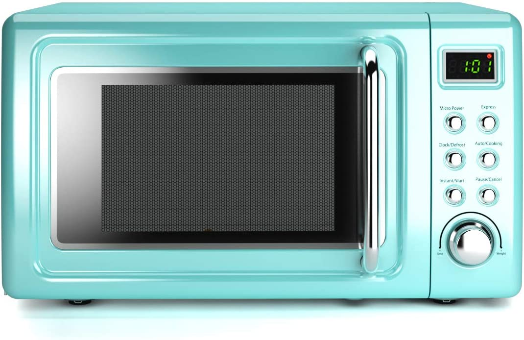 COSTWAY Retro Countertop Microwave Oven, 0.7Cu.ft, 700-Watt, Cold Rolled Steel Plate, 5 Micro Power, Delayed Start Function, with Glass Turntable & Viewing Window, LED Display, Child Lock (Green)