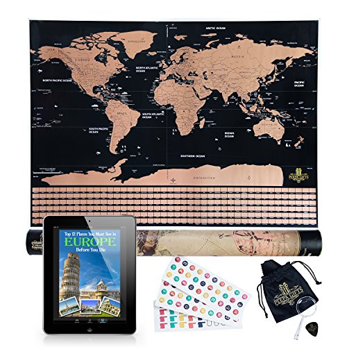 Order Free Gift Stickers - BEST Scratch Off World Map Poster - Perfect Gift For Travelers And Kids, Includes Scratch Tool , Memory Stickers and BONUS eBook ,Travel Map With Country Flags, Unique wall poster