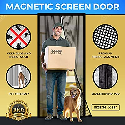 Magnetic Mesh Bug Screen Door - Strong Magnets, Fiberglass Mesh - Full Frame Curtain Magnets with Self-Seal Easy Open and Close Design , Anti Bug & Insect Pet Friendly - 34 inch x 82 inch Max
