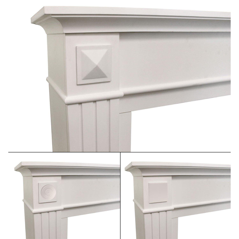 Elegante Kaminumrandung Kaminumbau Kaminkonsole MDF Weiß geeignet ...