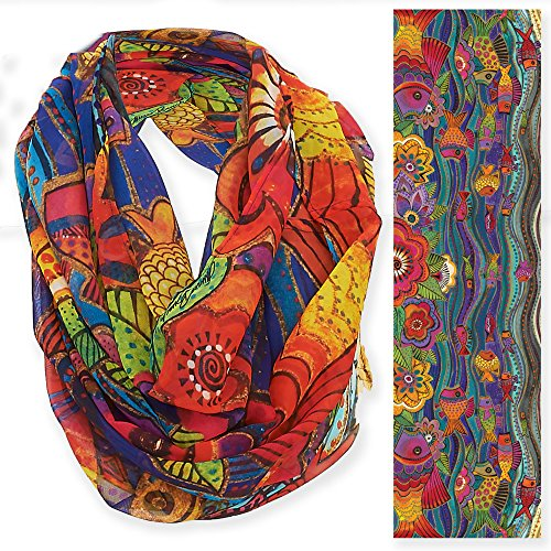 Laurel Burch Artistic Infinity Scarf Collection (Fish & Waves) Artistic Waves