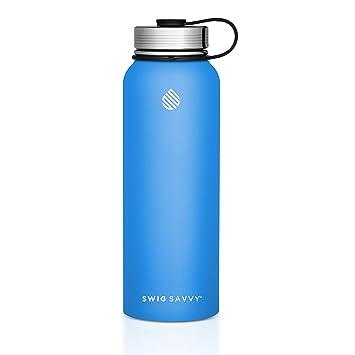 SWIG SAVVY Botellas de agua de acero inoxidable - vacío botella de agua, escape de acero inoxidable + tapón de aislamiento para bebidas calientes o ...