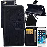 iPhone SE Case, iPhone 5s Case, DRUnKQUEEn Wallet Case with Cellphone Holder - PU Leather Cover Purse Slim Fit Card Slot for Apple iPhone SE 5s