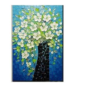 Ttkx At Peint à La Main Bleu Toile Acrylique Fleur Peintures à La Main