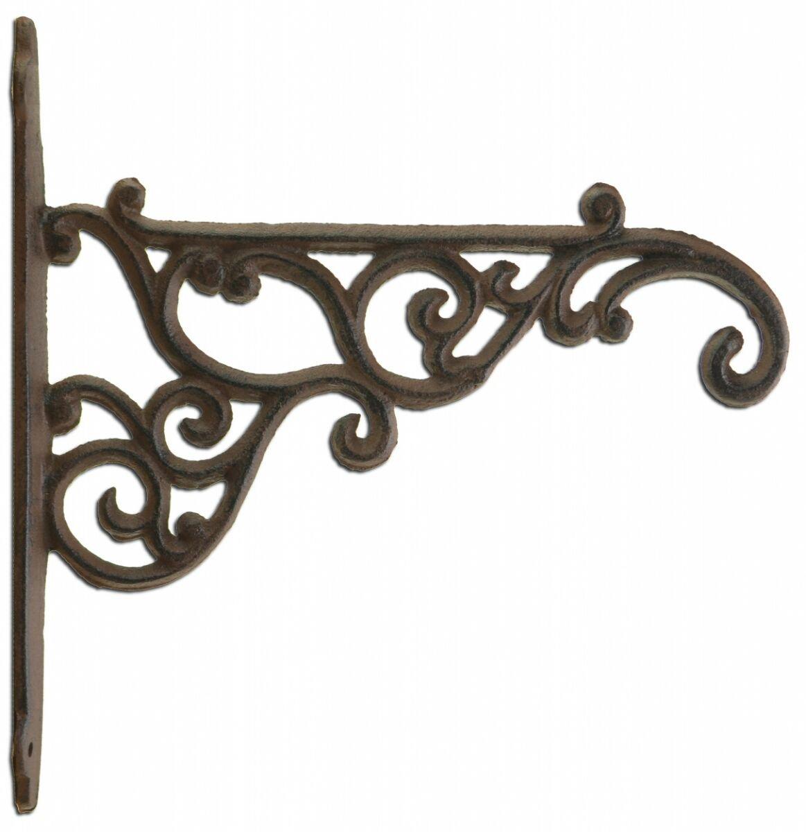 "Decorative Plant Hanger Ornate Victorian Cast Iron Flower Basket Hook 8.375"" Deep"