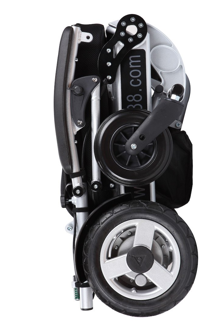 2017 model Foldawheel PW-1000XL Power Chair - weighs just 57 lbs with battery - Supports 330 lbs. Opens & folds in just 2 seconds. Comes with a durable travel bag. Electric motorized wheelchair.