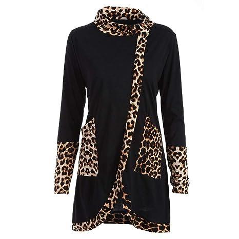 Camisas de Mujer,Dragon868 Moda Mujer Casual Leopardo Impreso Cuello Capucha Camisa Tops(Negro