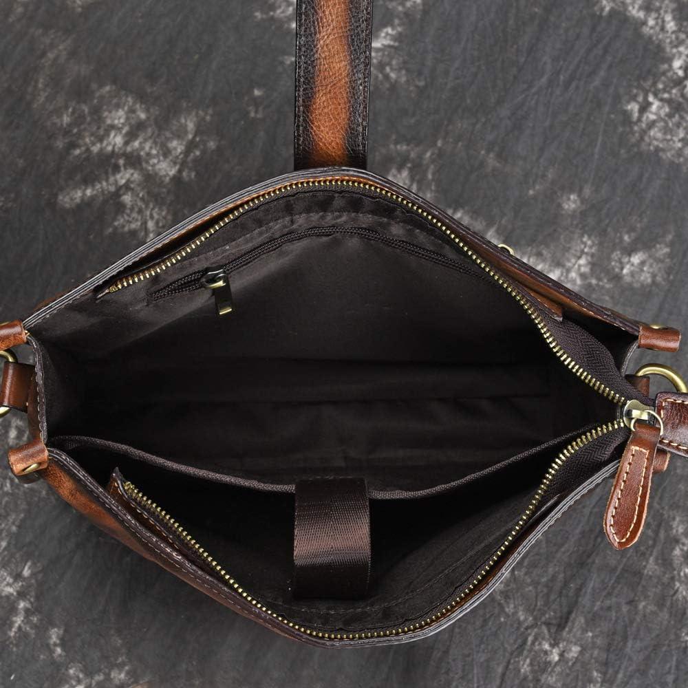 European Style Retro Cowhide Mens Briefcase Quality Shoulder Bag Messenger Bag One Size,Coffee