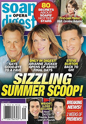 Soap Opera Digest Magazine   July 17  2017   Kin Shriner L Arianne Zucker L Steve Burton