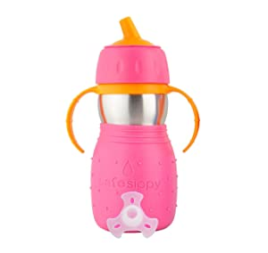 Kid Basix Safe Sippy | Stainless Steel Cup for Babies/Toddlers | Removable Handles | Dishwasher Safe | BPA Free | 11 Oz. | Travel and Play | Pink