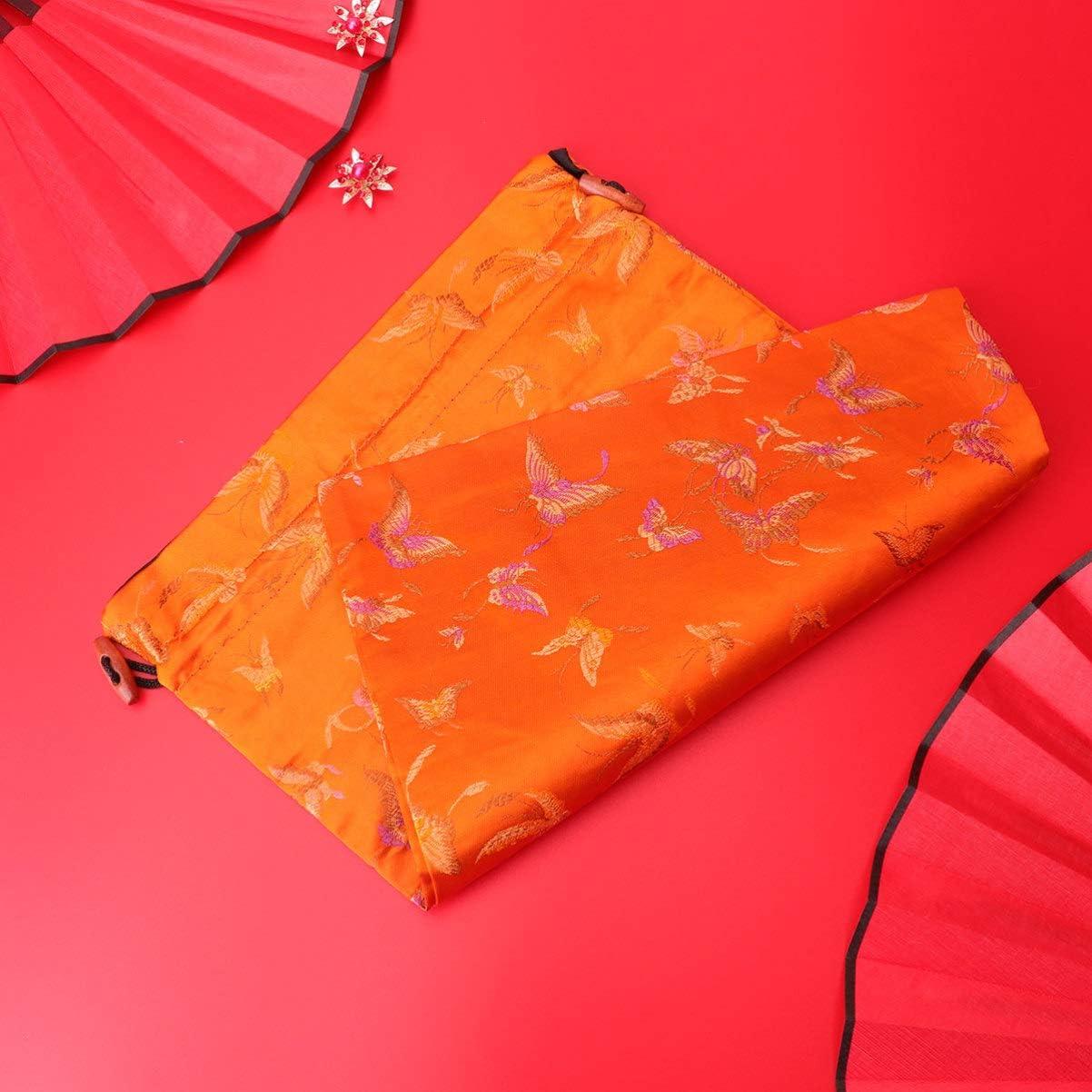 TOPBATHY Sac /à Cordon en Soie Sac de Rangement de Poche de Bijoux de Style Chinois pour La F/ête de Mariage Motif Al/éatoire Orange