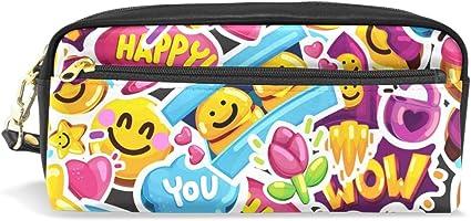Estuche para lápices, caras sonrientes Emoji Love Estampado bolsa de viaje maquillaje de gran capacidad impermeable cuero 2 compartimentos mejor regalo de Halloween para niños niñas niños: Amazon.es: Oficina y papelería