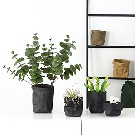 5bd95bfbab11 Gaddrt Lavable papier Kraft sac plante fleurs pots multifonction maison de  rangement sac de stockage (Noir, 12x12x23cm)  Amazon.fr  Cuisine   Maison