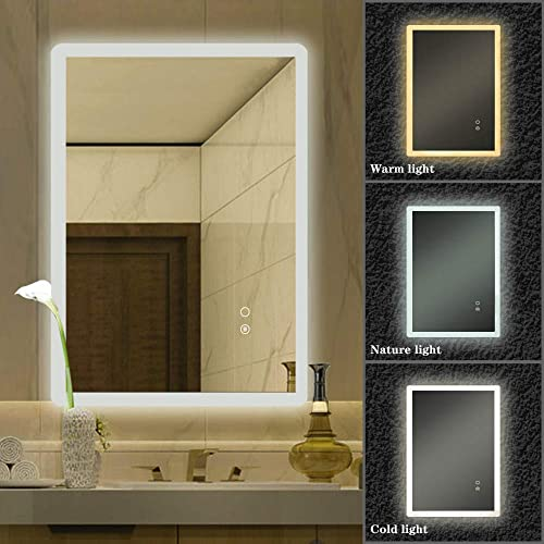 YOURLITE 28×20 Inch Bathroom LED Mirror with 3 Lighting Modes Adjustable Brightness CRI 90 Anti-Fog Wall Mounted Square Touch Button Mirror IP 44 Waterproof