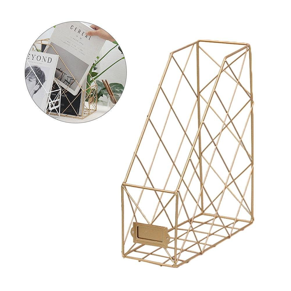 Amazon.com: Gereton Single Grid Iron Storage Rack Shelf Desktop Book Magazine Storage Organizer Desktop File Management Rack: Home Improvement