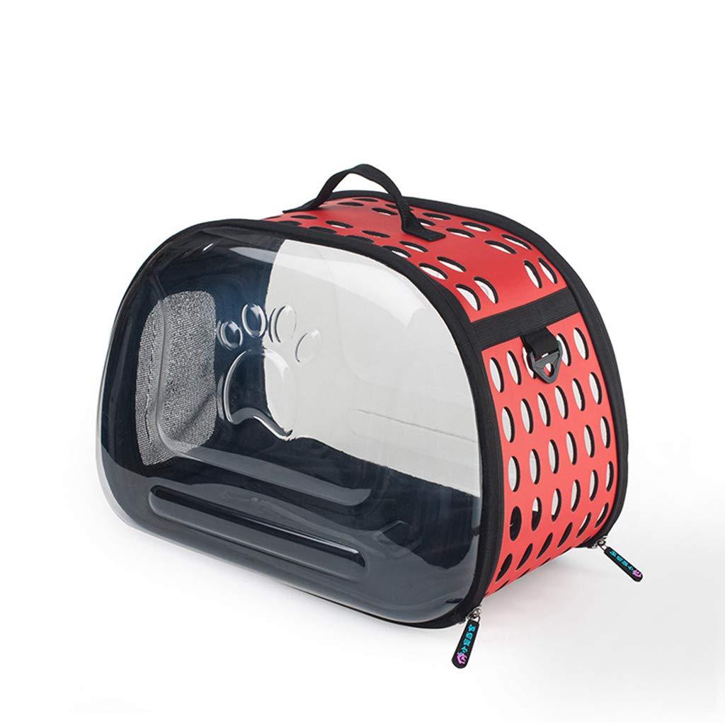 RED QIQI Foldable Portable Pet Bag Transparent Breathable Pet Carrier Cat Dog Shoulder Bag 45  34  28cm (color   RED)