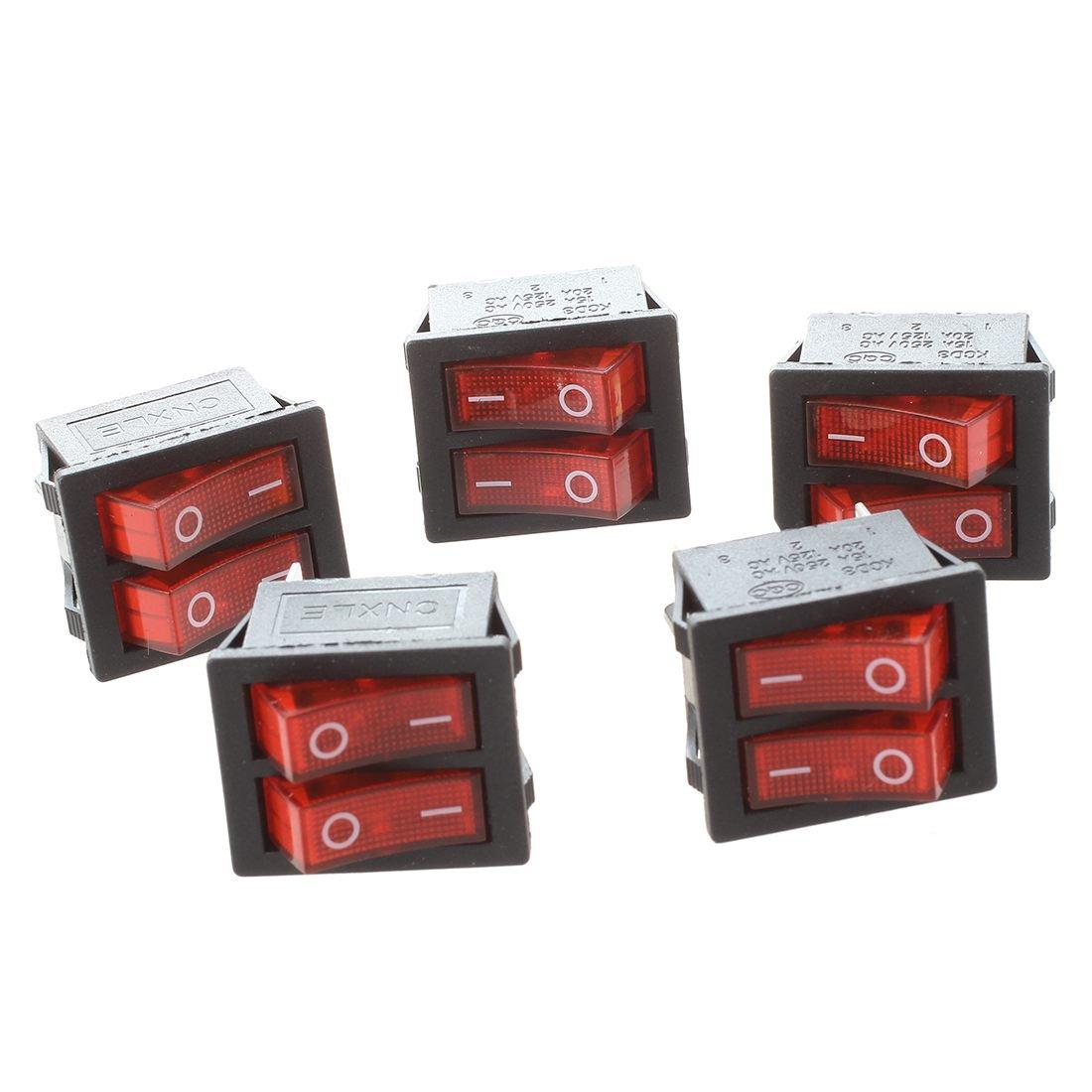 SODIAL(R) 5 piezas de x interruptores de eje de balancin con Luz Roja Iluminada SPST Doble Encendido / Apagado en forma de barco 6 Pin 040586
