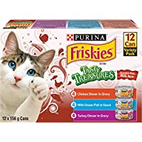 Purina Friskies Tasty Treasures™ Accented with Real Bacon Cat Food Variety Pack 12-156g Cans