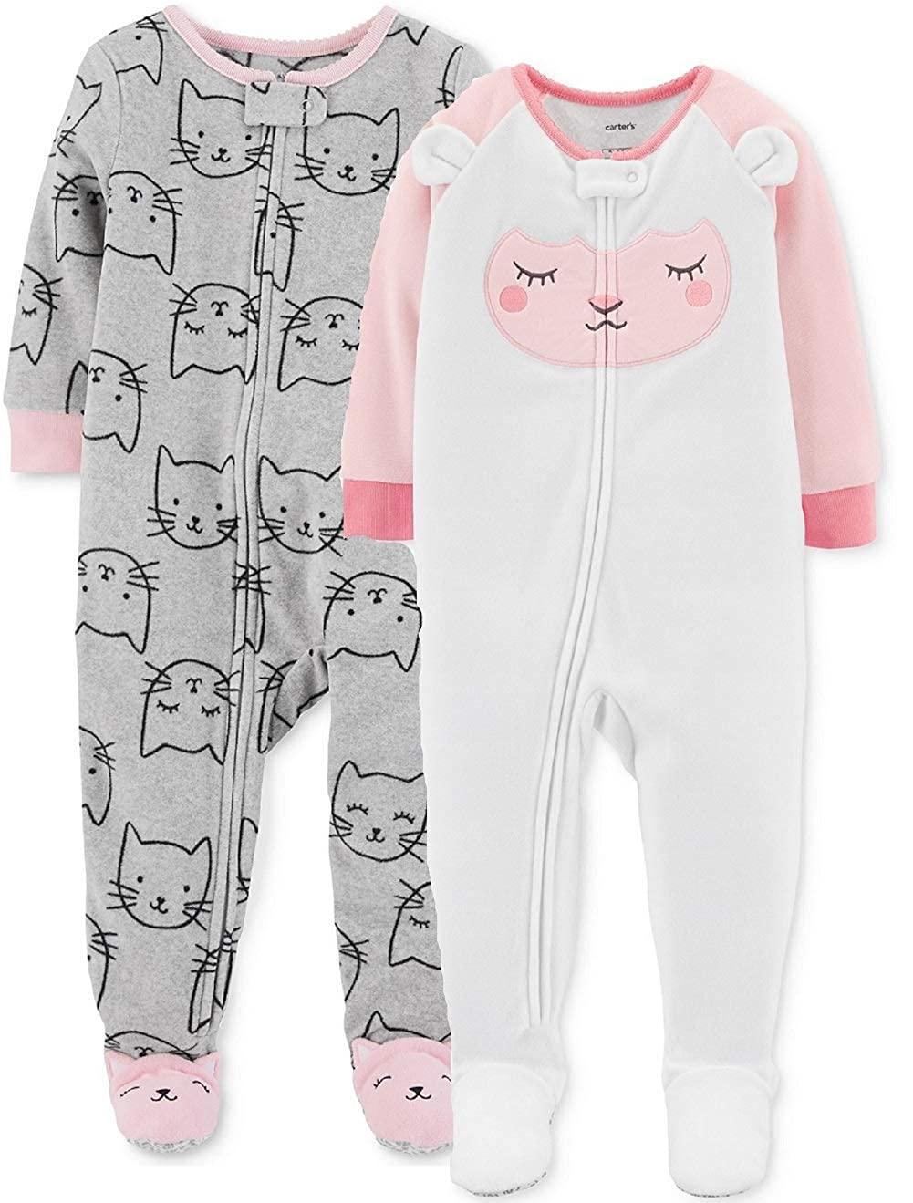 ab9e776b111e Amazon.com  Carter s Baby and Toddler Girls  2-Pack Fleece Footed ...