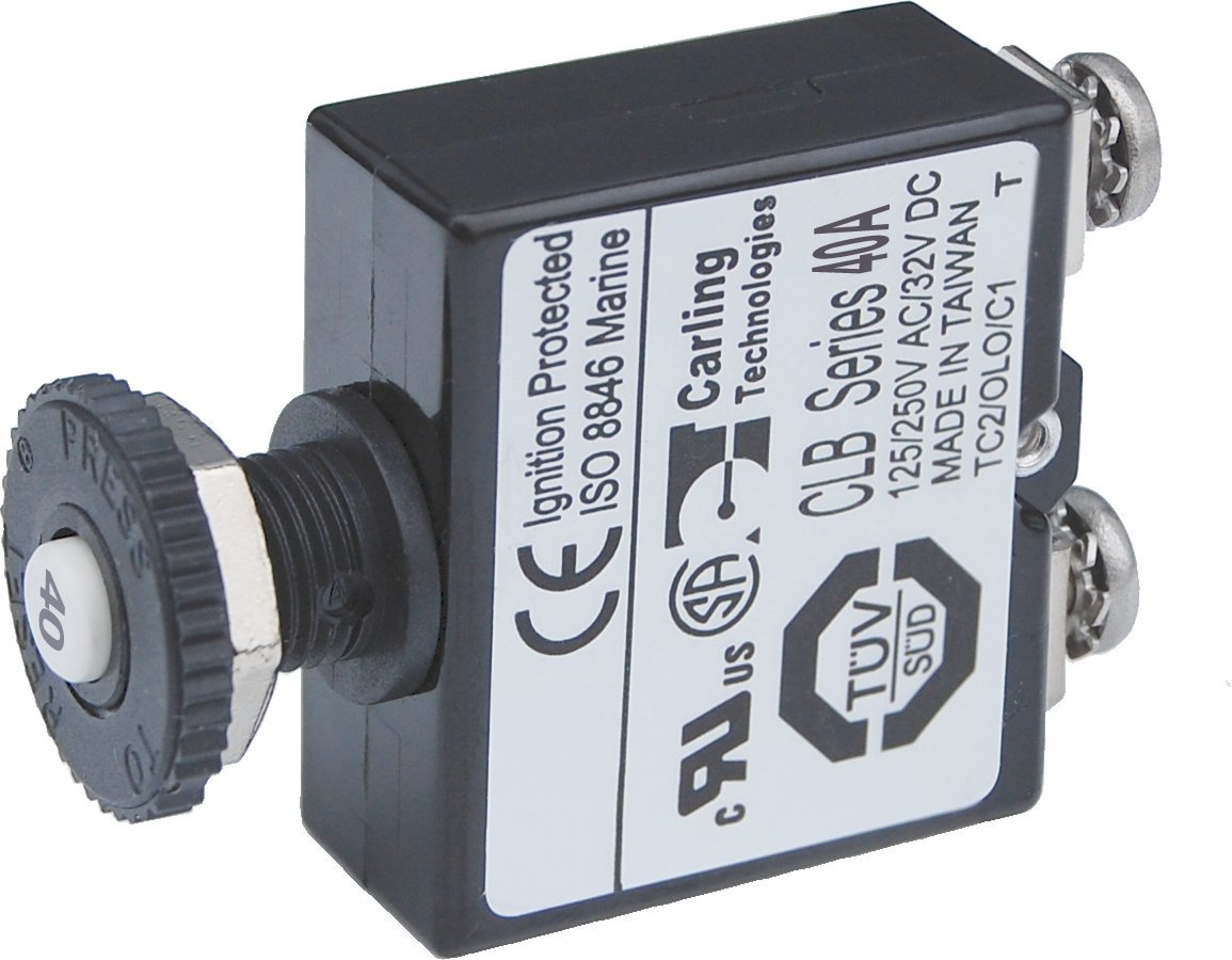 Blue Sea Systems Push Button Reset-Only CLB Circuit Breakers with Screw Terminals